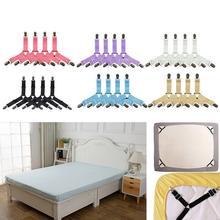 4 pçs/pçs/set folha de cama elástica clipes suspensórios cintas ajustável resistente para casa folha clipes