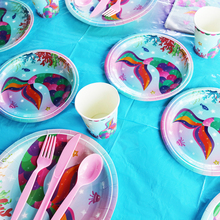 Mermaid Party Decoration Mermaid Disposable Tableware Sets Paper Plate Cup Napkins  Baby Shower Girl 1st Birthday Party Decor gold dot disposable tableware set cup plate napkin banner baby 1st birthday party decor baby shower girl party supplies