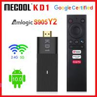 Mecool TV Stick Android 10.0 Amlogic S905Y2 TV Box Android 10 KD1 2G 16G certificato Google 1080P H.265 4K 60pfs 2.4G e 5G Wifi BT