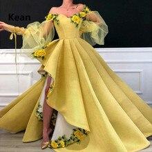 สีเหลืองชุดราตรีไหล่ 3D ดอกไม้ไม่สมมาตร vestidos Slit Robe Soiree อิสลามดูไบ Kaftan Saudi คำพรหมชุด