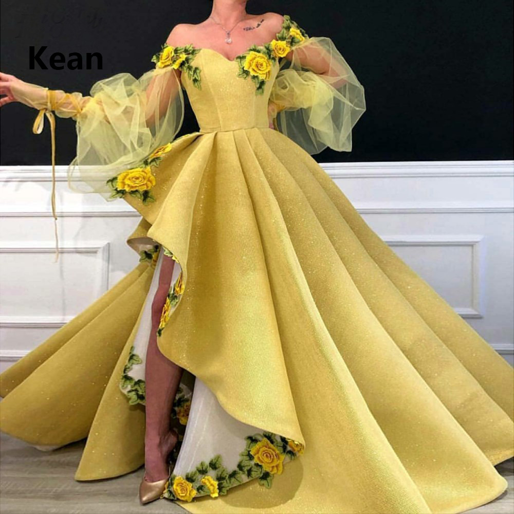 Yellow Evening Dress Off The Shoulder 3D Flower Asymmetry Vestidos Slit Robe Soiree Islamic Dubai Kaftan Saudi Arabic Prom Dress