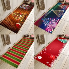 все цены на Christmas mat, Christmas happy mat, Christmas holiday background pad, water-absorbent, non-slippery flannel print pad онлайн