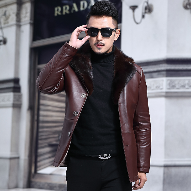 Genuine Sheepskin Leather Jacket Men Mink Collar Wool Liner Men's Sheepskin Coat Natural Fox Fur Collar F-7156 KJ1436