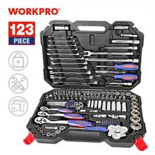 WORKPRO 123PC New Mechanic Tool Set for Car Home Tool Kits Quick Release Ratchet Handle Wrench Socket Set