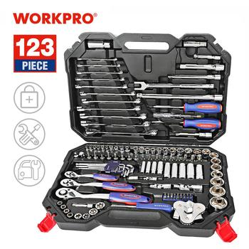 WORKPRO 123PC New Mechanic Tool Set for Car Home Tool Kits Quick Release Ratchet Handle Wrench Socket Set workpro 123pc tool set hand tools for car repair ratchet spanner wrench socket set professional car repair tool kits