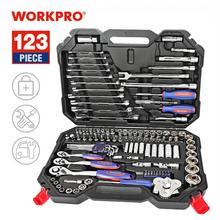 WORKPRO 123PC nowy zestaw narzędzi mechanicznych do samochodów zestawy narzędzi domowych Quick Release klucz zapadkowy klucz zestaw gniazd