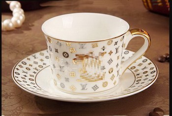 European style catering bone china cup multi-style simple ceramic coffee cup and saucer dish with pattern set With Spoon