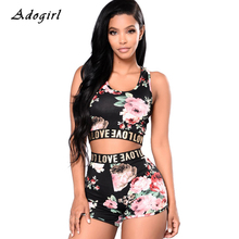Floral Print Bodycon Tracksuit Casual Sleeveless Vest Crop Top With Shorts Two Piece Set Sexy Letter Print Sports Women Sets недорого