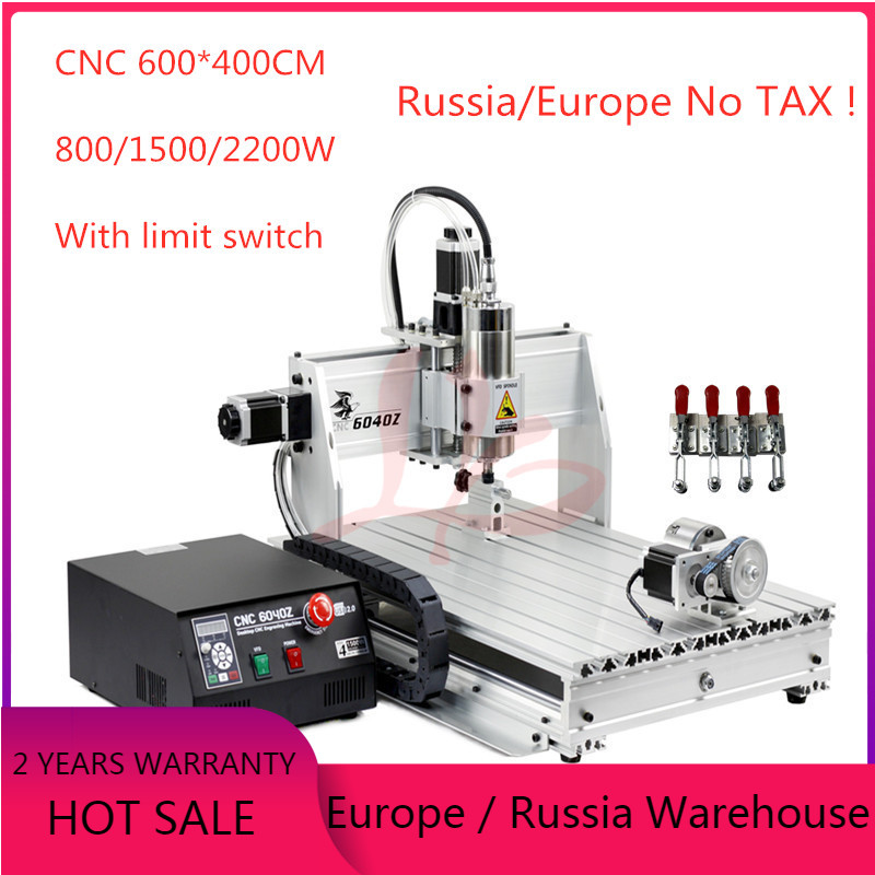 USB port CNC 6040 4 axis wood router PCB carving woodworking milling engraving metal engraver with limit switch and cutters