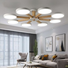 LED Ceiling Chandelier For Living Room Modern Lustre Wooden Bedroom Lighting Simple Surface Mounted Chandeliers