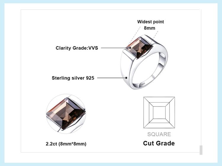H9a518adb5a734ab0859b5da526266025A JewPalace Genuine Smoky Quartz Ring 925 Sterling Silver Rings for men Wedding Rings Silver 925 Gemstones Jewelry Fine Jewelry