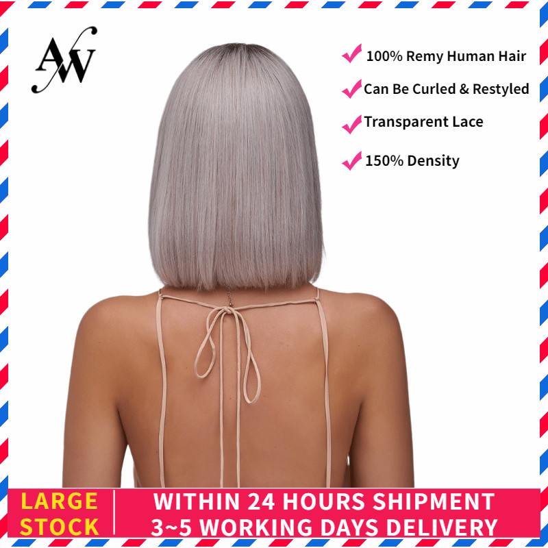 AW 10'' 12'' Silver Straight Bob Lace Front Wig Transparent Pre Plucked Hairline Half Lace Remy Hair Wig For Women 150% Density