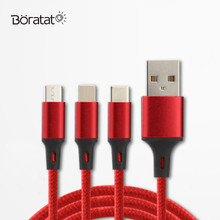 3 IN 1 USB Cable Type-C Micro USB Charging Charger Cable For