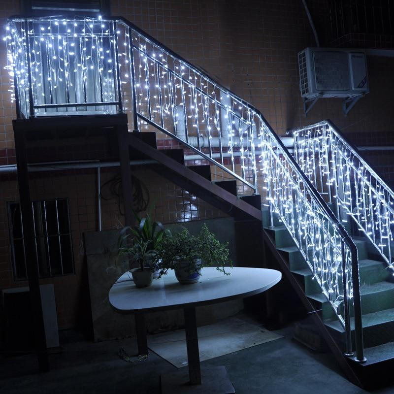 Cortina led para festival de férias, 5 m 96smd luz branca corda de led varal de gelo guirlandas para festa natal nova varal
