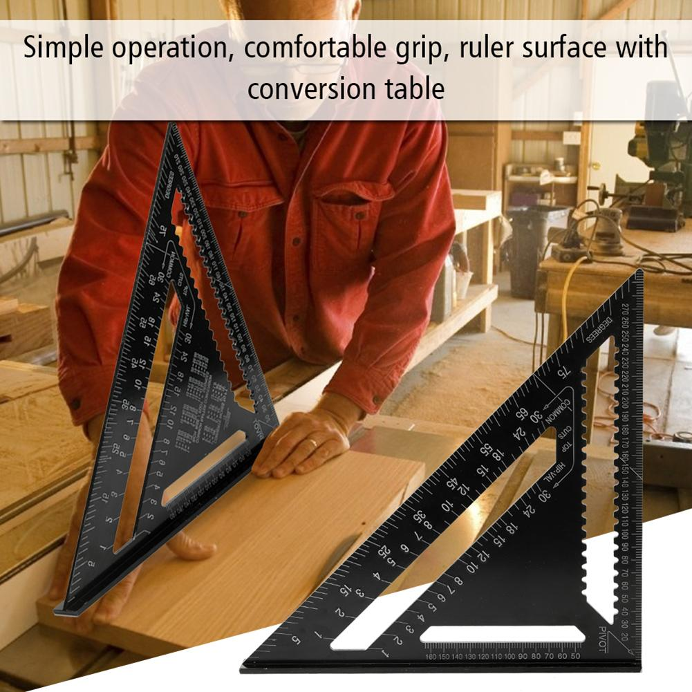 Aluminum Alloy Triangle Ruler 90/45 Degree Set Square 12in Metric Woodwork Tool