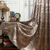 Napearl geometria cortinas para sala de estar cortina tecidos brown janela painel cortina semi-blackout cortinas do quarto