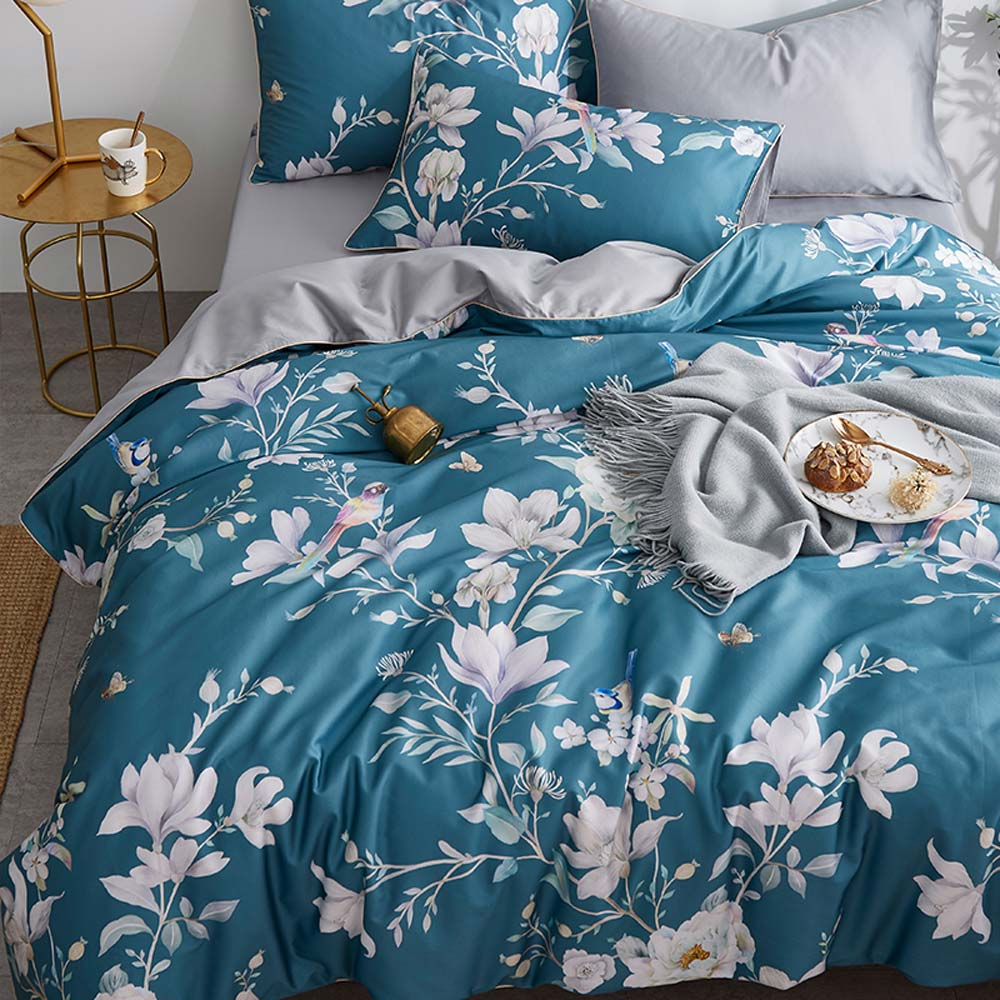 Leaves Duvet Cover Set Luxury Egyptian Cotton Bedlinens Queen Size Bedding Set Bedsheet