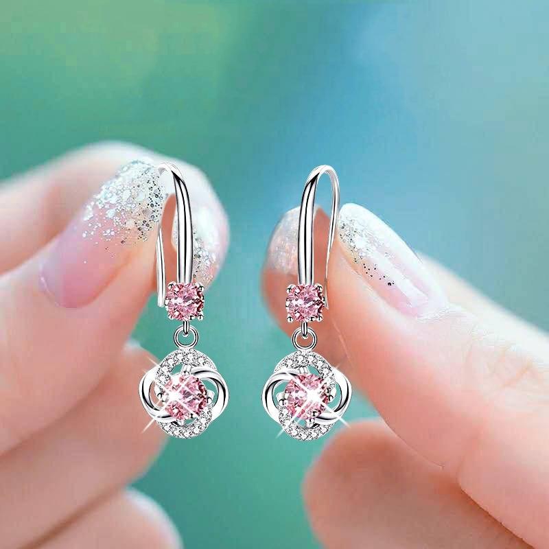 Luxury Female Pink Crystal Drop Earrings Classic Silver Color Dangle Earrings Dainty Zircon Flower Wedding Earrings For Women