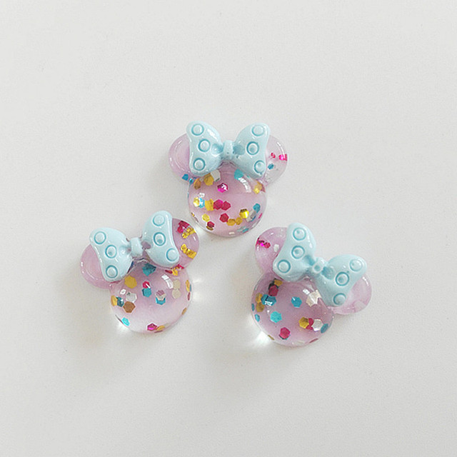 10/20/30Pcs Glitter Mouse Bows Flat Back Planar Resin Color DIY Craft Supplies Phone Shell Jewelry Ornaments Hair Accessories