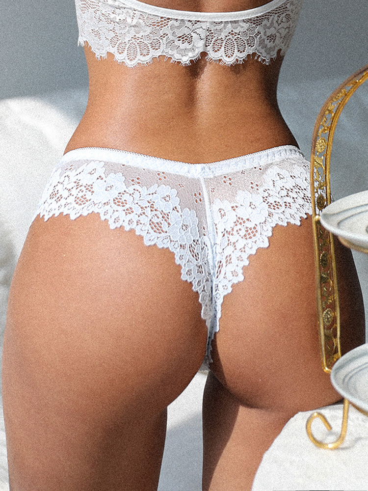 Underwear Female Panties Temptation Lace Lingerie G-String Embroidery Thong Transparent