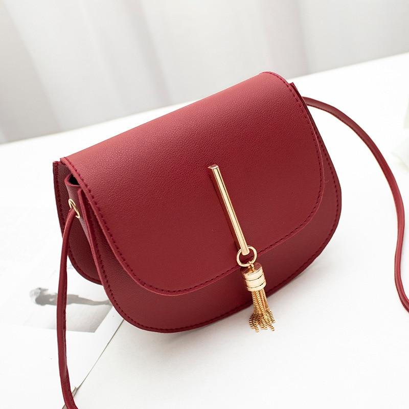 Mini Bag Women Leather Handbags Tassel Fashion Solid Red White Black Pink Gray Shoulder Sling Bags
