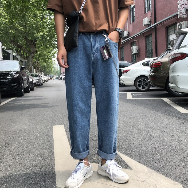 Summer Thin Pants Male Korean Version Of The Trend Straight Jeans Men's Loose Wide Leg Pants Tide Brand Casual Nine Pants