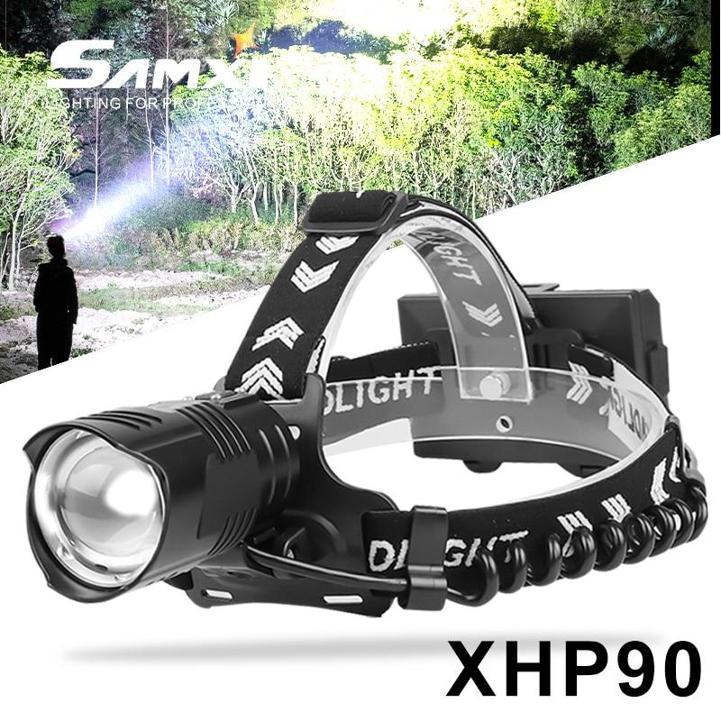 XHP90/70/50 Rechargeable Headlamp High Brightness Headlight 3pcs 18650 Fishing Head Torch As Bike Light For Camping Lantern