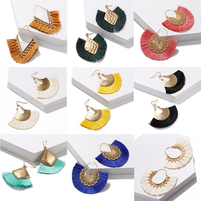 Tassel Earrings Bohemia Fringe 2020 Popular Long Earring Dangle Indian Gold Color Earrings Jhumka New