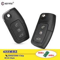 KEYYOU-llave de coche con Control remoto para Ford Focus 3, 2, Mondeo Fiesta, funda Fob de 3 botones, 433MHz, 4D63/4D60, 80/40 bits