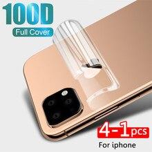 Película protetora traseira do hidrogel de 4-1 pces para o iphone 11 pro 8 7 6s mais xr x xs max 100d capa completa película protetora não vidro
