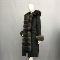 LISIDUN 2019 Real Fur Parka Women Winter Jacket Nature Sliver Fox Fur Hooded Coats Real Rabbit Fur Lining Jacket Female Fur Coat