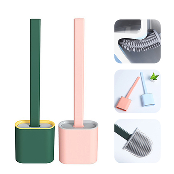 Silicone Toilet Brush Flat Head Flexible Soft Bristles Brush Silicone Flex Toilet Brush with Holder Long Handle Cleaning Brushes недорого