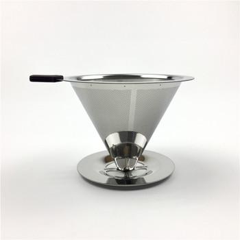 Reusable Coffee Filter Holder Stainless Steel Brew Drip Coffee Filters Funnel Metal Mesh Coffee Tea Filter Basket Tools 2