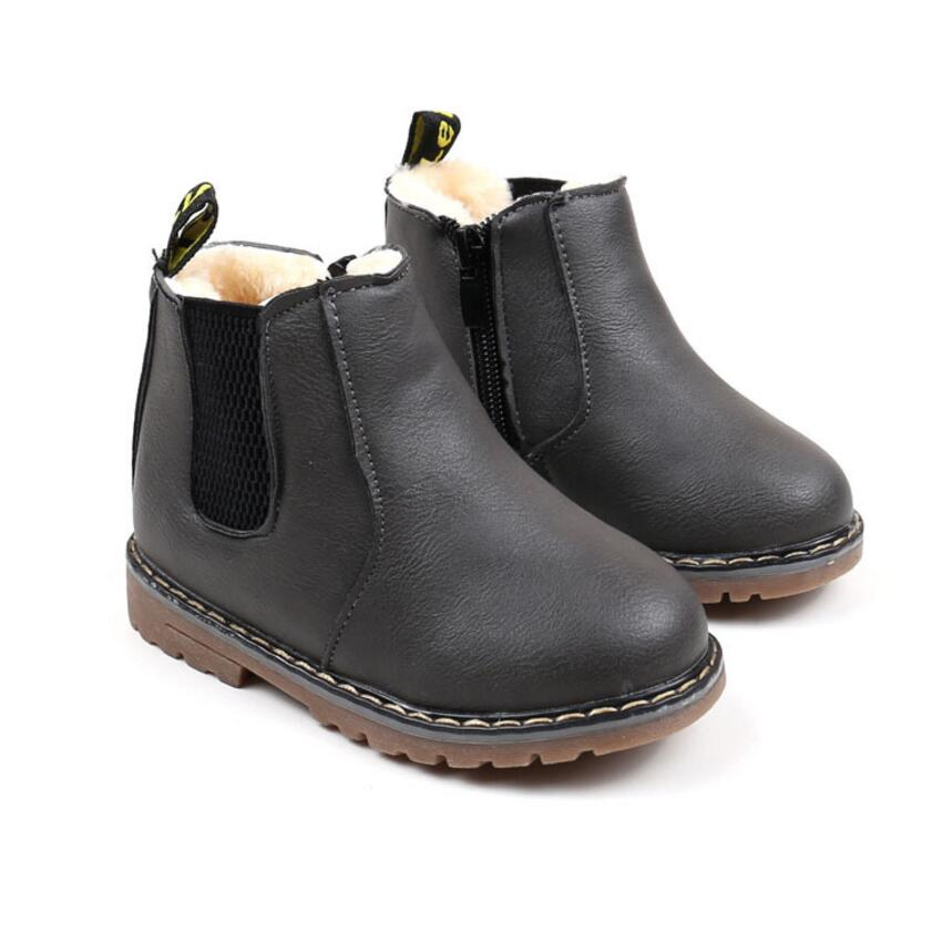 Kids Winter Leather Plush Shoes Boys Toddler Boots Fashion Martin Boots With Fur Children Soft Outdoor Girls Boots