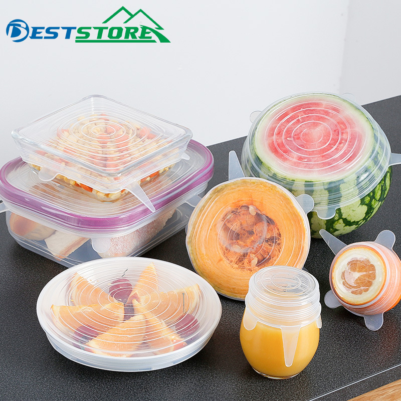 6Pcs Food Grade Silicone Stretch Lids Transparent Stretching Fruit Food Wrap Covers Pan Fresh Keeping Bowl Universal Cover