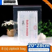 Ziplock Bag Plastic Packing Bag Transparent Information Storage Plastic Bag 20X28cm 0.08mm Thick Sealed Food Bag Wholesale