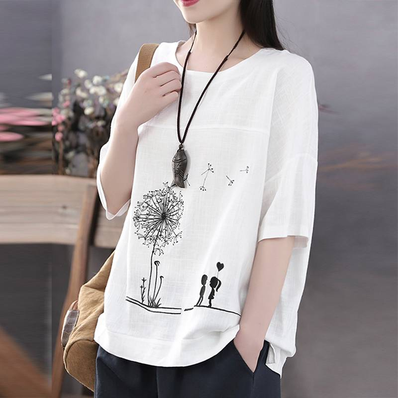 ZANZEA Printed Summer Tops Women's Floral Blouse Spring 2020 Casual 3/4 Sleeve Shirts Female O Neck Blusa Plus Size TUnic 5XL