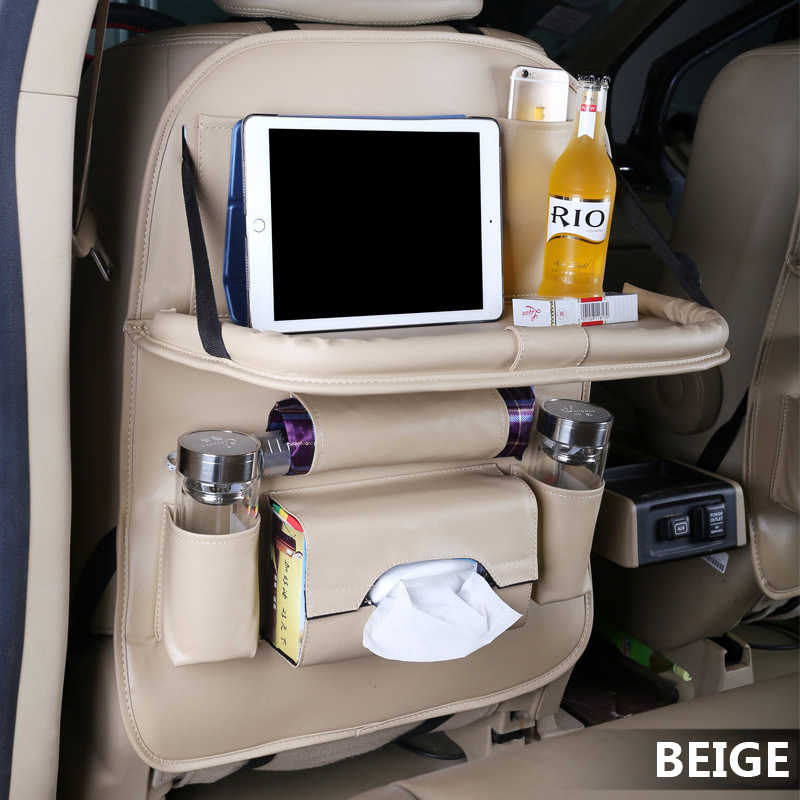 Pu レザーバッグカーシートバックオーガナイザー折りたたみテーブルトレイ旅行収納袋折りたたみダイニングテーブルカーシート収納バッグ
