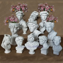 Creative Resin Imitation plaster vase David Sculpture head vase Flower arrangement accessories Apollo Venus Home Decorations