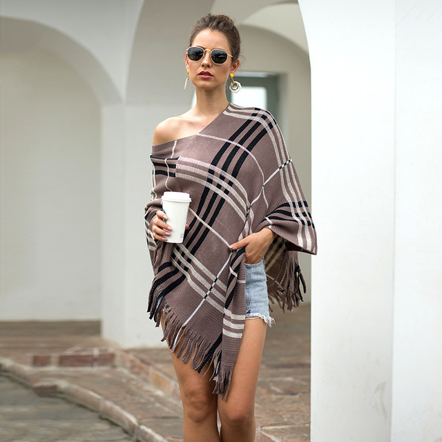 2020 Autumn Winter European American Fringed Shawl Cloak Diagonal Stripe Pullover V-neck Ladies Sweater Poncho Women's Clothing 3
