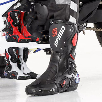 Motorcycle Boots Microfiber Leather Racing Motocross Off-Road Motorbike Moto Mid-Calf Shoes Botas Riding Boots Protective Gears arcx motorcycle boots men waterproof botas moto genuine cow leather moto boots motocross boots motorcycle racing mid calf shoes