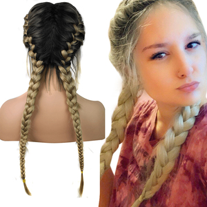 Image 1 - Anogol Pre Plucked Long Double Braids Black Brown Dark Roots Ombre Blonde Synthetic Braided Lace Front Wig With Baby Hair