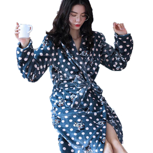 Image 2 - Winter Long Bathrobe Women Belt Flannel Kimono Bath Robe Bridal Wedding Bridesmaid Robes Dressing Gown Peignoir Badjas Housecoat
