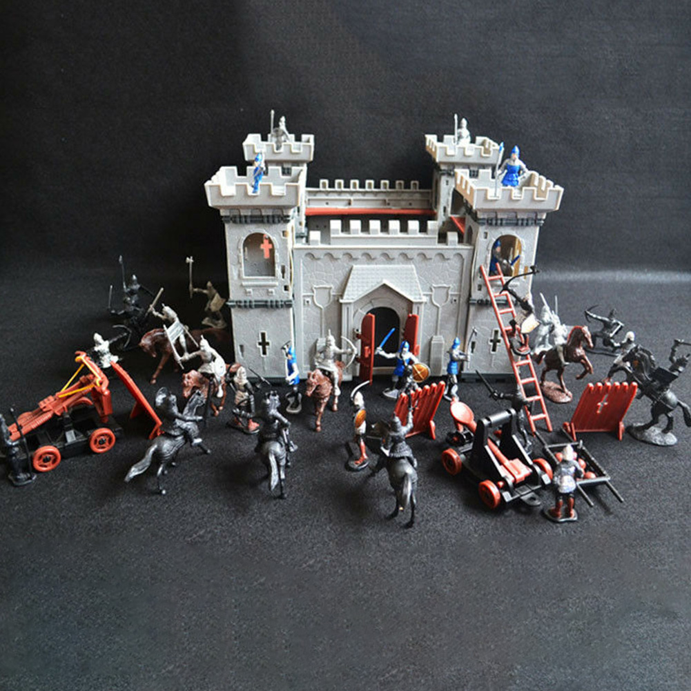 Knights Game Castle Toy Set Mediaeval Castle Soldiers Model Assembled Building Block War Military S Plastics Figures Toy DIY Toy