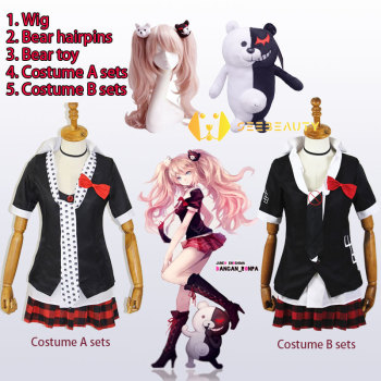 Full Sets Dangan Ronpa Enoshima Junko Cosplay Costume Pink Long Wig with Bear Hairpins Danganronpa Skirt Shirt Toy - discount item  40% OFF Costumes & Accessories