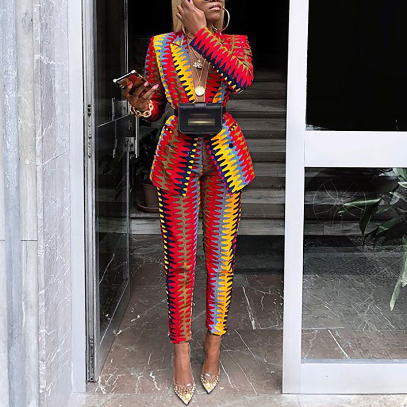 Spring Autumn Women Tracksuits Long Sleeve Blazer And Straight Pants Suits OL Women Striped Print Casual Fashion Two Piece Set