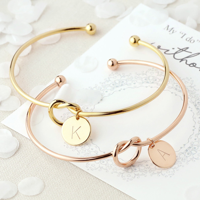 Fashion Name Female Jewelry Initial Alloy Letter Charm Bracelets For Women Girls Rose Gold Bow-knot Bracelets Bangles
