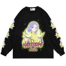 Rétro anime combattant imprimer hommes vêtements ample à manches longues T-shirt surdimensionné printemps Hip hop Harajuku haute rue style japonais