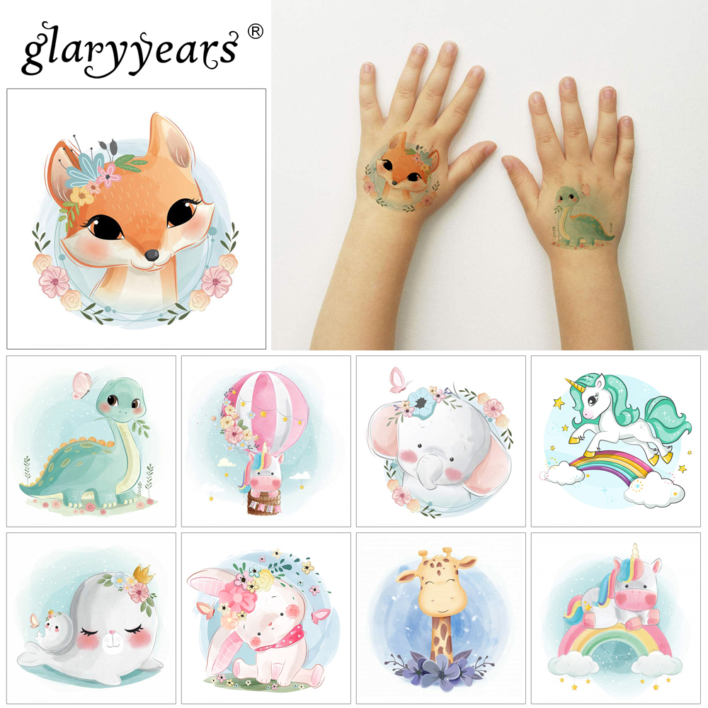 Glaryyears 5*5cm Cute Animals Makeup Temporary Tattoo Sticker Colorful Fake  Flash Waterproof  Fashion Small Body Art For Child