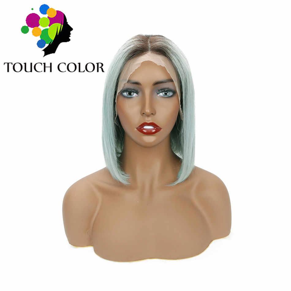 Peluca frontal de encaje de color Ombre 13x4 pelucas de Bob recto indio para mujeres negras Remy de encaje de pelo humano peluca frontal pelo Pre desplumado